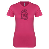 Ladies SoftStyle Junior Fitted Fuchsia Tee-Argonaut Head Hot Pink Glitter