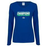 Ladies Royal Long Sleeve V Neck T Shirt-NCAA Division II National Champions 2017 Mens Tennis