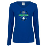 Ladies Royal Long Sleeve V Neck T Shirt-2017 Volleyball Champions