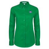Ladies Kelly Green Twill Button Down Long Sleeve-West Florida Argonauts