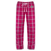 Ladies Dark Fuchsia/White Flannel Pajama Pant-West Florida Argonauts EMB