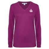 Ladies Deep Berry V Neck Sweater-West Florida Argonauts
