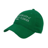 Kelly Green Twill Unstructured Low Profile Hat-University of West Florida Stacked