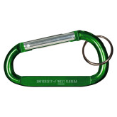 Green Carabiner with Split Ring-University of West Florida Engraved