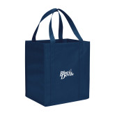 Non Woven Navy Grocery Tote-Blue Devils Stacked