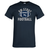 Navy T Shirt-Football Distrssed