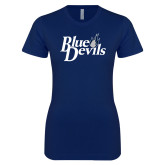 Next Level Ladies SoftStyle Junior Fitted Navy Tee-Blue Devils Stacked