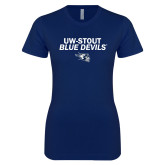 Next Level Ladies SoftStyle Junior Fitted Navy Tee-UW-Stout Blue Devils w/Blaze