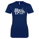 Next Level Ladies SoftStyle Junior Fitted Navy Tee-Hockey