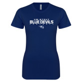 Next Level Ladies SoftStyle Junior Fitted Navy Tee-Football Yards Design