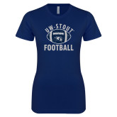 Next Level Ladies SoftStyle Junior Fitted Navy Tee-Football Distrssed