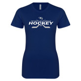 Next Level Ladies SoftStyle Junior Fitted Navy Tee-Hockey Cross Sticks