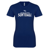 Next Level Ladies SoftStyle Junior Fitted Navy Tee-Distressed Softball