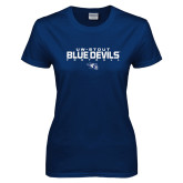 Ladies Navy T Shirt-Football Yards Design