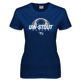 Ladies Navy T Shirt-Soccer Half Ball