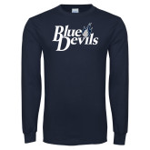Navy Long Sleeve T Shirt-Blue Devils Stacked