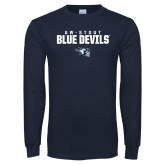 Navy Long Sleeve T Shirt-UW-STOUT Blue Devils Stacked w/ Blaze