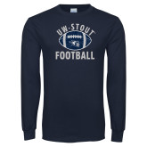 Navy Long Sleeve T Shirt-Football Distrssed