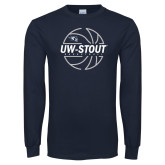 Navy Long Sleeve T Shirt-Basketball Abstract Ball