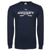 Navy Long Sleeve T Shirt-Hockey Cross Sticks