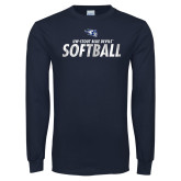 Navy Long Sleeve T Shirt-Distressed Softball