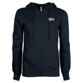 ENZA Ladies Navy Fleece Full Zip Hoodie-Blue Devils Stacked