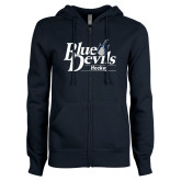 ENZA Ladies Navy Fleece Full Zip Hoodie-Hockey