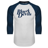 White/Navy Raglan Baseball T Shirt-Blue Devils Stacked