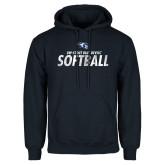 Navy Fleece Hoodie-Distressed Softball