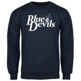 Navy Fleece Crew-Blue Devils Stacked