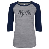 ENZA Ladies Athletic Heather/Navy Vintage Baseball Tee-Blue Devils Graphite Soft Glitter