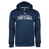 Under Armour Navy Performance Sweats Team Hoodie-Distressed Softball