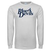 White Long Sleeve T Shirt-Blue Devils Stacked