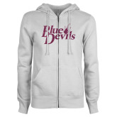 ENZA Ladies White Fleece Full Zip Hoodie-Blue Devils Pink Glitter