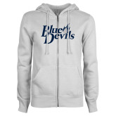 ENZA Ladies White Fleece Full Zip Hoodie-Blue Devils Stacked