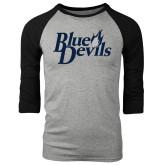 Grey/Black Tri Blend Baseball Raglan-Blue Devils Stacked