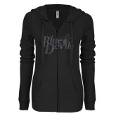 ENZA Ladies Black Light Weight Fleece Full Zip Hoodie-Blue Devils Graphite Soft Glitter