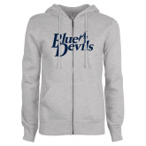 ENZA Ladies Grey Fleece Full Zip Hoodie-Blue Devils Stacked