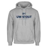 Grey Fleece Hoodie-UW-Stout Alumni Stacked