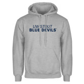 Grey Fleece Hoodie-UW-STOUT Blue Devils