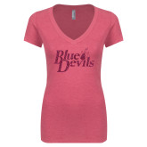 Next Level Ladies Vintage Pink Tri Blend V Neck Tee-Blue Devils Hot Pink Glitter
