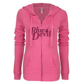 ENZA Ladies Hot Pink Light Weight Fleece Full Zip Hoodie-Blue Devils Hot Pink Glitter