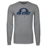 Grey Long Sleeve T Shirt-Soccer Half Ball