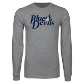 Grey Long Sleeve T Shirt-Blue Devils Stacked