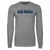 Grey Long Sleeve T Shirt-UW-STOUT Blue Devils Stacked w/ Blaze