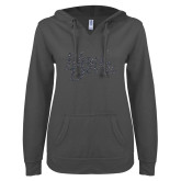 ENZA Ladies Dark Heather V Notch Raw Edge Fleece Hoodie-Blue Devils Silver Soft Glitter