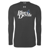 Under Armour Carbon Heather Long Sleeve Tech Tee-Blue Devils Stacked