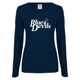 Ladies Navy Long Sleeve V Neck Tee-Blue Devils Stacked