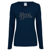 Ladies Navy Long Sleeve V Neck Tee-Blue Devils Graphite Soft Glitter