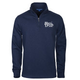 Navy Slub Fleece 1/4 Zip Pullover-Primary Mark